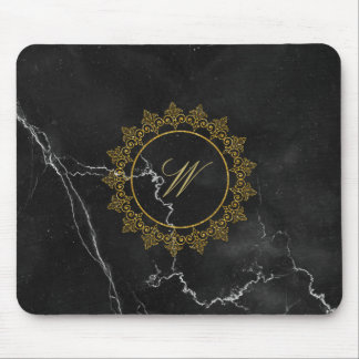 Modern Intricate Monogram on Black Marble Mouse Pad