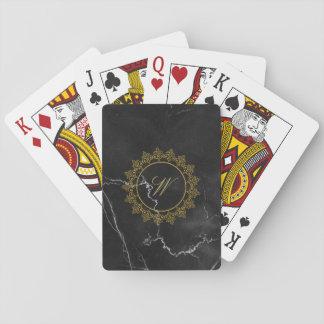 Modern Intricate Monogram on Black Marble Playing Cards