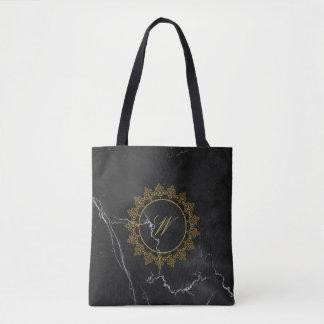Modern Intricate Monogram on Black Marble Tote Bag