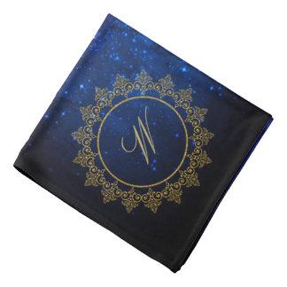 Modern Intricate Monogram on Blue Galaxy Bandana