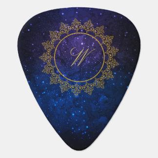 Modern Intricate Monogram on Blue Galaxy Guitar Pick