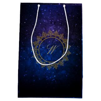 Modern Intricate Monogram on Blue Galaxy Medium Gift Bag
