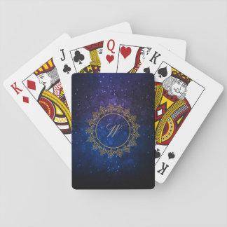 Modern Intricate Monogram on Blue Galaxy Playing Cards