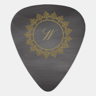 Modern Intricate Monogram on Chalkboard Guitar Pick