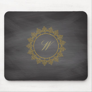Modern Intricate Monogram on Chalkboard Mouse Pad