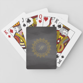 Modern Intricate Monogram on Chalkboard Playing Cards