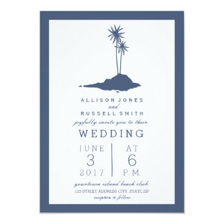Modern Island Beach Wedding Invitation - Dark Blue