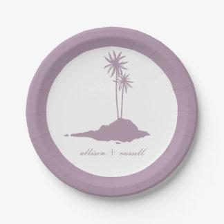 Modern Island Beach Wedding - Violet Paper Plate