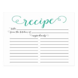 Modern Jade Script Bridal Shower Recipe Cards Postcard