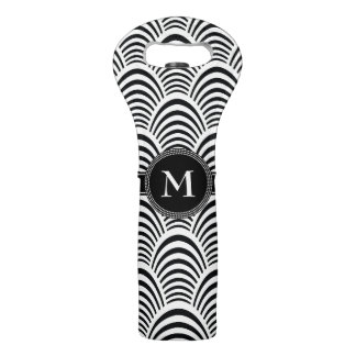 Modern Jazz Age Elegant Black and White Monogam Wine Bag