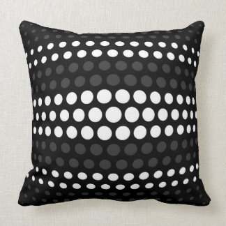 Modern Jet & White Polka Dots Pattern Throw Pillow