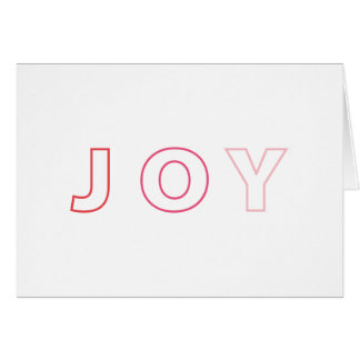 Modern Joy Ombre Red Pink Christmas Holiday Card