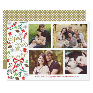 Modern Joy To The World Holidays Photo Card