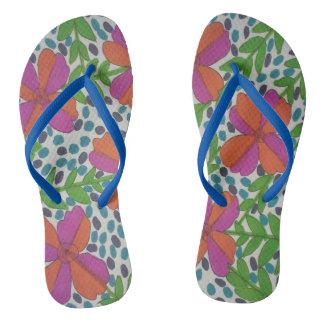 Modern Jungle Floral Print Flip Flops