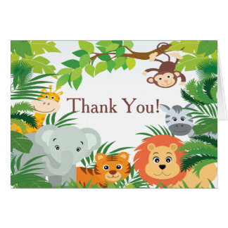 Modern Jungle Safari Baby Shower Thank You Card