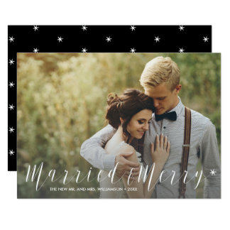 Modern Just Married and Merry Starry Holiday Photo Card