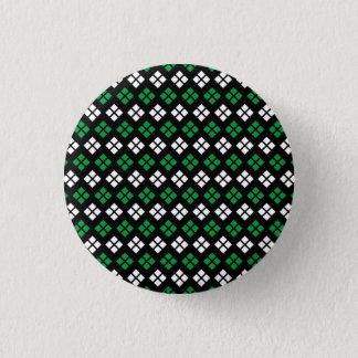 Modern Kelly Green & White Argyle Pattern on Black 1 Inch Round Button
