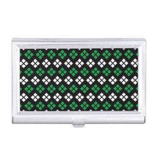 Modern Kelly Green & White Argyle Pattern on Black Business Card Holder