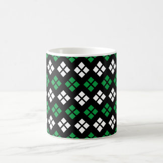 Modern Kelly Green & White Argyle Pattern on Black Coffee Mug