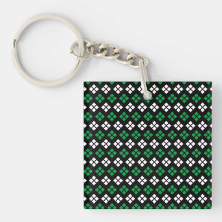 Modern Kelly Green & White Argyle Pattern on Black Double-Sided Square Acrylic Keychain