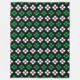Modern Kelly Green & White Argyle Pattern on Black Fleece Blanket