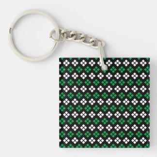 Modern Kelly Green & White Argyle Pattern on Black Keychain