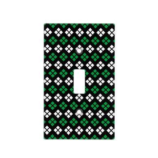 Modern Kelly Green & White Argyle Pattern on Black Light Switch Cover