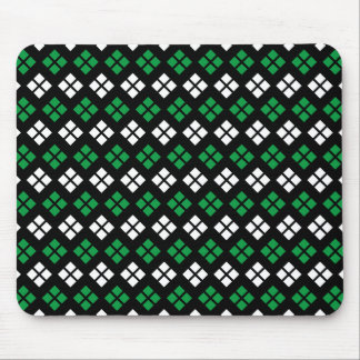 Modern Kelly Green & White Argyle Pattern on Black Mouse Pad