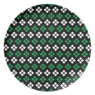 Modern Kelly Green & White Argyle Pattern on Black Plate