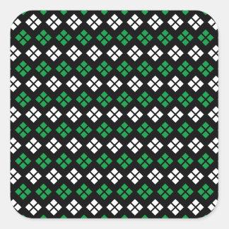 Modern Kelly Green & White Argyle Pattern on Black Square Sticker