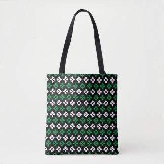 Modern Kelly Green & White Argyle Pattern on Black Tote Bag