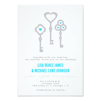 Modern Key with Hearts Wedding Invitation