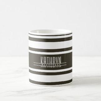 Modern Khaki Stripes w/Personalization Coffee Mug