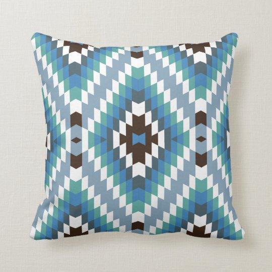 Modern Kilim Pattern Turquoise Brown Throw Pillow