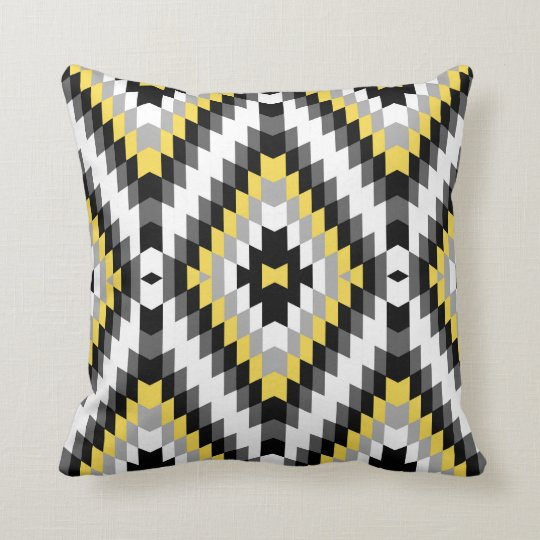 Modern Kilim Pattern Yellow Grey Throw Pillow