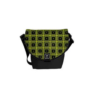 Modern Kiwi and Black Messenger Bag