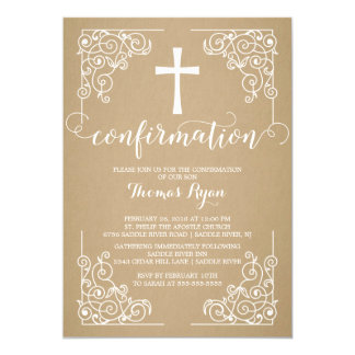 Modern Kraft Cross Confirmation Invitation