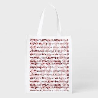 Modern Kwanzaa African American Holiday Reusable Grocery Bag