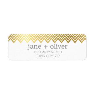 MODERN LABEL chevron pattern cute gold foil gray Return Address Label