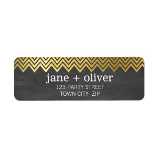 MODERN LABEL chevron pattern gold foil chalkboard Return Address Label