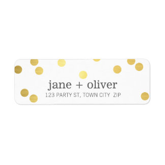 MODERN LABEL cute playful confetti spots gold foil Return Address Label