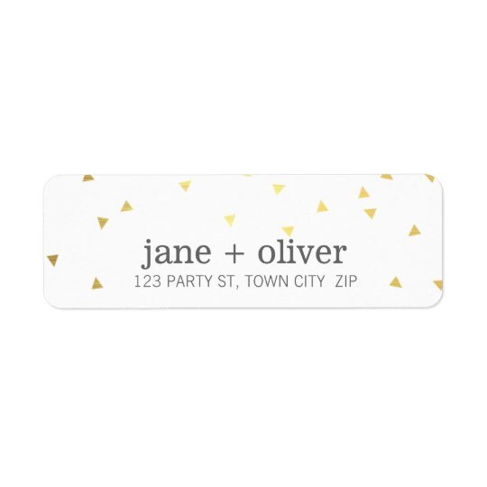 MODERN LABEL geo triangle confetti cute shiny gold Return Address Label
