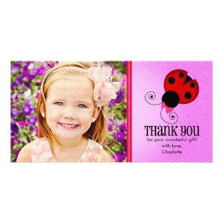 Modern Ladybug Personalized Thank You Photo Card Template