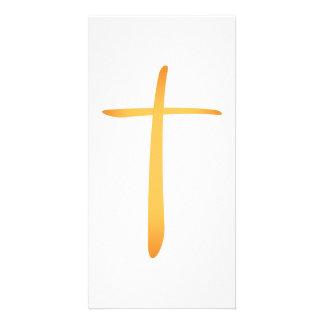 Modern Latin Christian Cross Photo Card