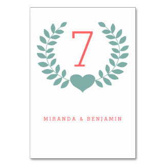 Modern Laurel Wedding Table Number Card Table Cards