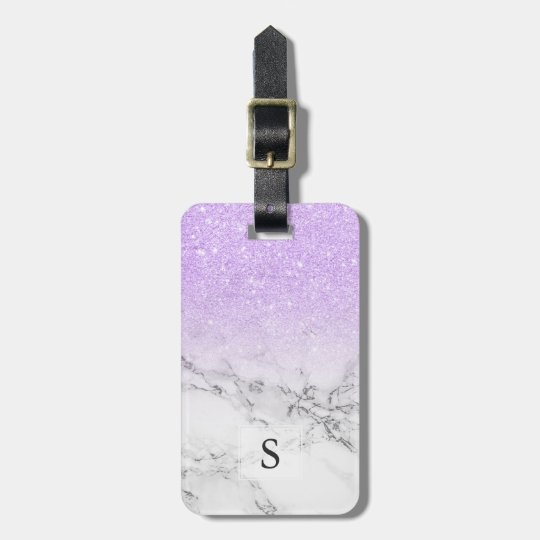 Modern lavender glitter ombre white marble luggage tag