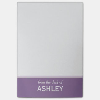 "Modern Lavender Purple Personalized 4"" x 6"" Post-it Notes"