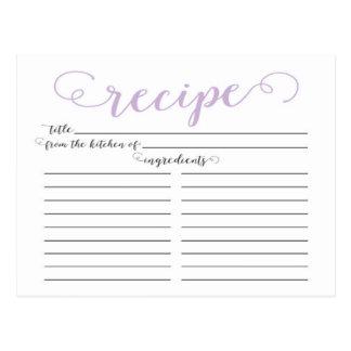 Modern Lavender Script Bridal Shower Recipe Cards Postcard
