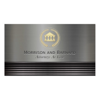 Modern Lawyer Attorney Gold and Silver Courthouse Business Card