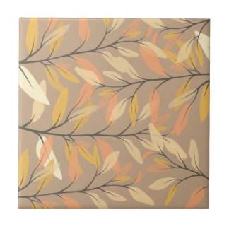 Modern Leaf and Branch Autumn Pattern Tile